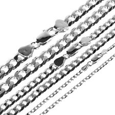 Mens Ladies S925 Solid Sterling Silver Necklace Figaro Curb Chain 20 22 24 Inch
