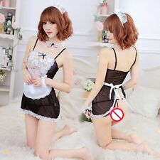 Sexy Cute 7 Pcs Naughty French Maid Lingerie Role Play Costume Babydoll Dress