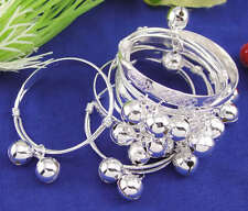 14pc Silver Baby Bracelet Dangle Charms Kids Gift Baby Jewelry Bangle Adjustable