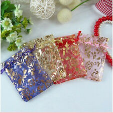 100Pcs Rose Flower Organza Jewelry Gift Present X-mas Pouch Packaging Bags 7x9cm