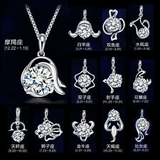 925 Sterling Silver Crystal Constellation Charming Chain Pendant Necklace Gift