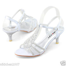 Online Womens Strappy Crystal Wedding Bridesmaid Prom Dresses Kitten Comfy Shoes