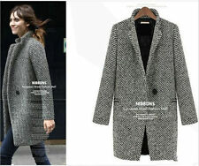 New Gray Womens Lapel Collar Wool Long Winter Parka Coat Trench Outwear Jacket