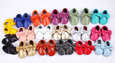 Genuine Leather Bow Baby Moccasins Fast Shipping Girl Infant Toddler Crib Shoe