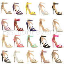 WOMENS LADIES BARELY THERE HIGH HEEL ANKLE CROSS STRAPPY BUCKLE PARTY SANDALS