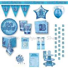 13TH BIRTHDAY Blue Glitz Party Supplies Tableware Banners Balloons & Decorations