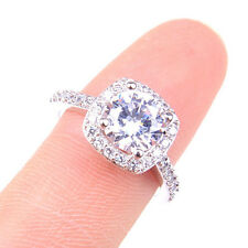 Women's Noble 18K White Gold Plated GP Clear Crystal Sparking Vogue Ring H1220