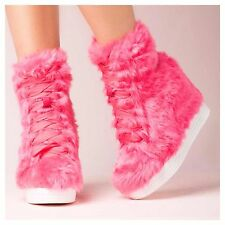 JEFFREY CAMPBELL TROLL HIDDEN WEDGE PLATFORM SNEAKER PINK FURRY STATEMENT SHOES