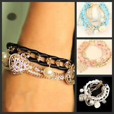 Women Multilayer Chain Woven Pearl Hollow Love Heart Crystal Coin Drop Bracelet