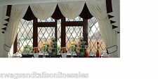 "SWAGS AND TAILS + SHOW CURTAINS, FITS WINDOWS 106"" to 130"" (269-330cm)  WIDE"