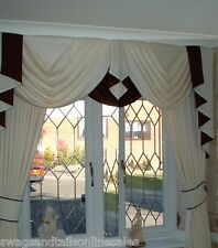 "LUXURY SWAGS AND TAILS + CURTAINS SETS, FITS WINDOWS 45-60"" (115-152cm) WIDTHS"