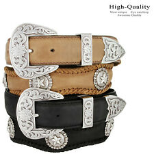 The Silver Abilene - Western Star Berry Genuine Leather Scalloped Belt, 1-1/2""