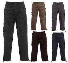 NEW MENS FULLY ELASTICATED WAIST CARGO COMBAT RUGBY SUMMER BLACK WORK TROUSERS