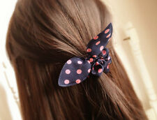 100pcs / rabbit ears hair bow wave point circle rubber band