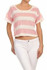 New Women's Stripe Short Sleeves  Teill Crop Top Strappy Back Yellow, Navy, Rose