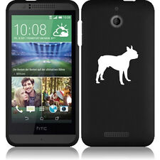 For HTC Desire 510 Rubber Hard Snap On 2 Piece Case Cover Boston Terrier