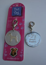 AIREDALE TERRIER ID TAG -  PET DOG TAG HAND ENGRAVED FREE