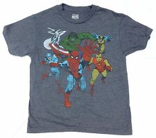 Marvel Spider-Man Iron Man Hulk Captain America Charcoal Kids Youth Boys T-Shirt