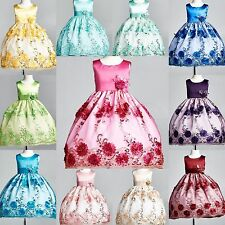 Flower Girl Bridesmaid Embroidery Dress ALL SIZES Pageant Holiday Easter Pageant