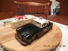 Vintage Battery Operated Tin Remote Control Tethered Police Car