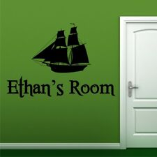 LARGE SAILBOAT personalised wall decal bedroom kids wall stickers