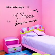 NOT EASY BEING A PRINCESS wall sticker quote girls bedroom wall decals