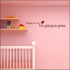 READY OR NOT baby kids wall sticker quote mural nursery bedroom wall stickers