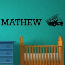 PERSONALISED DUMP TRUCK wall sticker kids boys bedroom wall decal