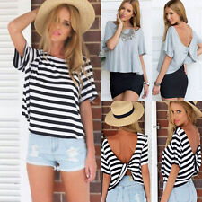 Sexy Womens Summer Short Sleeve Loose Black White T Shirt Casual Tops Blouse