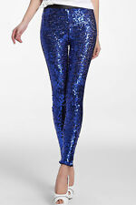 Sexy women Sequin Front PU Leggings elegant Wet Look Skinny Pant Trousers