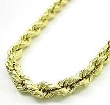 """24-36"""" 6mm 10k Yellow Real Gold Diamond Cut Rope Chain Necklace Mens Ladies"""