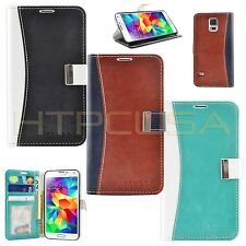 Leather ID Photo Flip Metal Strap Wallet Case Cover For Samsung Galaxy S5 i9600