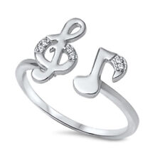 925 Sterling Silver CZ G Cleff F Cleff Music Ring Size 5 6 7 8