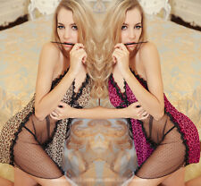 Super Sexy Leopard Pattern Sheer Lingerie Pretty Lace Skirt Baby Doll Dress-407