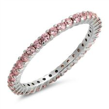 Sterling Silver 925 STACKABLE ETERNITY DESIGN PINK CZ BAND RING 2MM SIZES 4-10