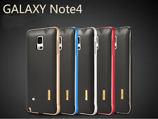 Aluminum Metal Frame+Soft TPU Leather Back Case Cover For Samsung Galaxy Note 4@