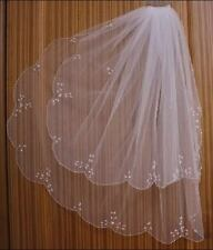 2T Ivory/ White Elbow Beaded Edge sequins Bridal Wedding Veil with comb