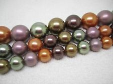 10,12,16mm Multi-Color Shell Pearl Round Loose Beads 15""