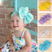 Girls Kids Baby Big Lace Bow Hairband Headband Stretch Turban Knot Head Wrap