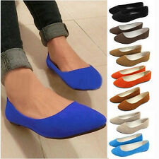 Women Casual Loafers Suede Low To Help Shallow Mouth Pointed Flat Wild Shoes