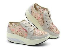 Stylish Womens Floral Wedge Heels Platform Lace Up Creeper Tennis Sneakers Shoes