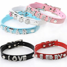 Pet Cat Dog Puppy Croc Leather Personalized DIY Collar Name Rhinestone Letters