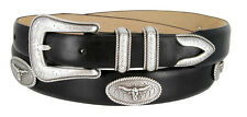 "Rancher Longhorn - Italian Calfskin Leather Dress Concho Belt, 1-1/8"" Wide"