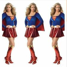 Sexy Supergirl Fancy Dress Costume Super Hero Outfit Boot Covers To Fit 8 10 12