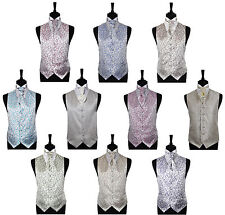"""Boy's Scroll Special Occasion Wedding Waistcoat Only -Size 20""""-32"""" / 2 -14 Years"""