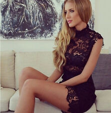 HOT SEXY Women See Through Mini Lace Dress Prom Evening Party Cocktail Clubwear