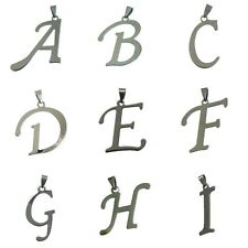 Stainless Steel A B C D E F to Z Initial Alphabet Letter Charm Pendant Necklace