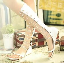 New Womens open toe Gladiatus sandals Sexy knee Lace up Zipper Hollow flat Shoes