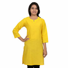 (116 YELLOW) My lady,Official, corporate wear Cotton Comfort KURTI,Simple Neck