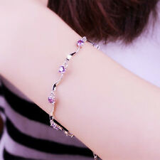 Fashion Jewelry Womens Silver Plated Charm Crystal Bamboo Chain Bracelet